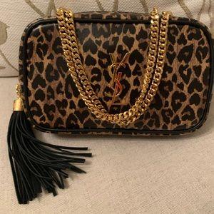 SAINT LAURENT Mini Lou Leopard Leather Camera Bag